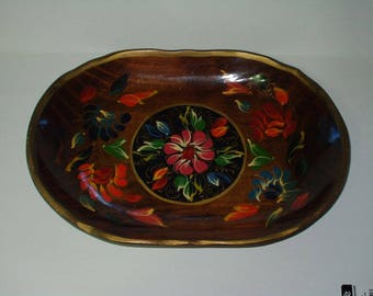 Vintage Hand Painted Mexican Bowl Batea Wood Shallow Bowl 14 x 9 x 2 Retro Ethnic Wooden Bowl 817