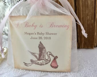 Baby Girl Shower Favors Pink Stork Tea Party Favors Set of 10
