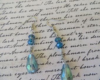 Blue Faceted Crystal Teardrop Dangling Earrings