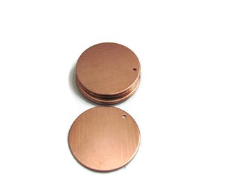 "1"" Copper Blanks -  22 gauge -with holes - Hand stamping metal blanks"