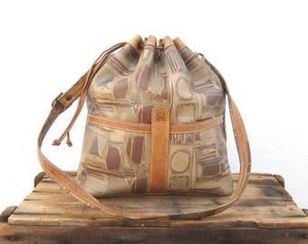 20% Off Sale SALE Vintage Large Graphic Distressed Tan Leather Drawstring Bucket Bag
