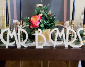 Mr and Mrs Wedding Signs for Wedding Sweetheart Table, Art Deco Vintage Mr and Mrs Letters Large Thick Gatsby Style Mr & Mrs (Item - MTG100)