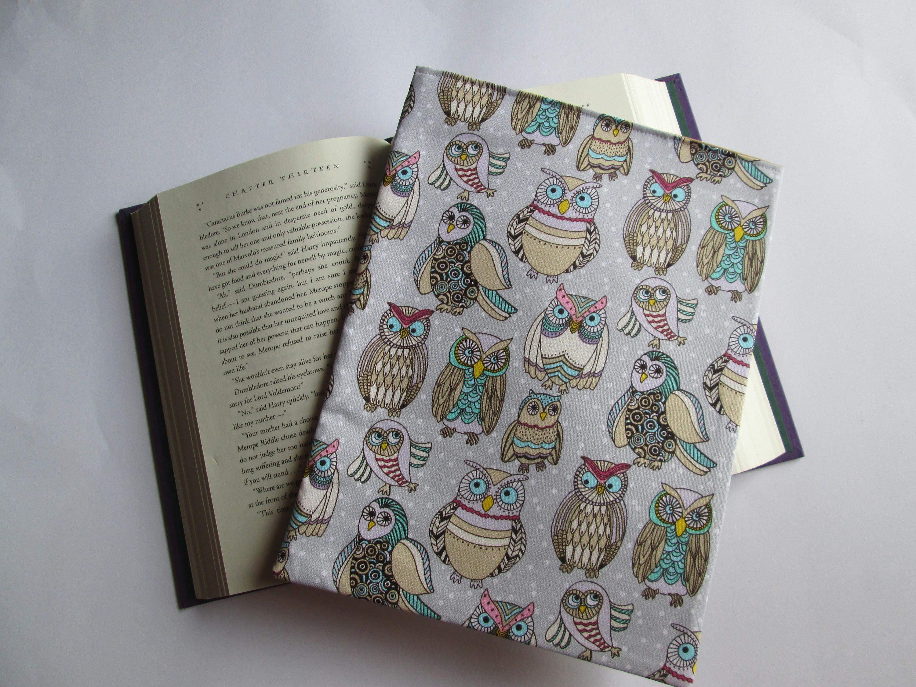 Hardback Book Cover Material : Funky owls fabric hardback book cover sleeve