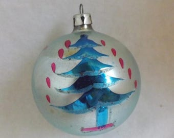 On Sale Vintage Poland ornament Christmas tree ornament glass ball ornament aqua ornament hand painted blue ornament  no 2