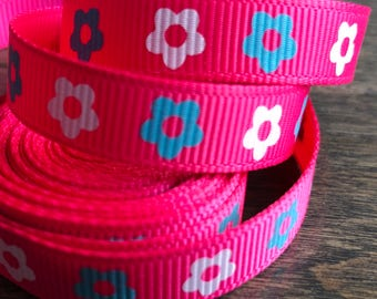 Bright Pink Flower Grosgrain Ribbon 3/8 Inch 9mm