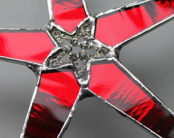 Red Reflection star- Red mirror glass with sparkly star center- 9 inches red decor