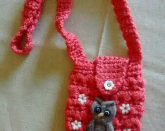 Needle felt embellished crochet small shoulder purse