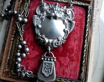 SALE:  Antique Victorian Gothic Bat Gargoyle & French Fob Rosary Necklace, A Talisman for the Shaman, by RusticGypsyCreations