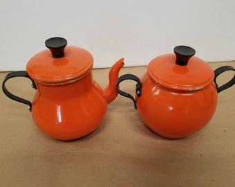 Vintage Orange Aluminum Sugar and Creamer