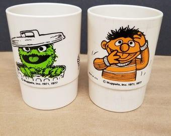 Vintage Pair of Sesame Street Cups