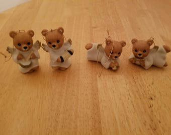 Vintage Set of Angel Bear Ornaments