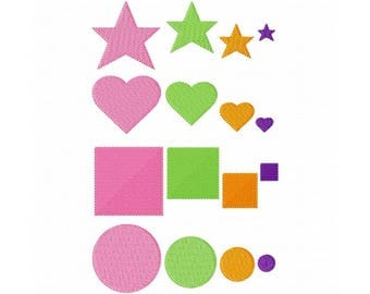 """Mini Shape Fills Machine Embroidery Design Patterns 4 styles in 4 sizes 0.5"""", 1"""", 1.5"""" and 2"""" Star, Heart, Square, Circle"""