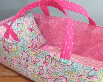 Doll Carrier, Pink and Aqua, Will Fit Bitty Baby and Stella Dolls, 16 Inches Long