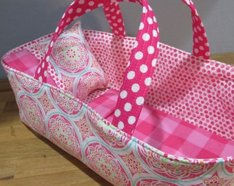 Doll Carrier, Modern Fabric with Pink Lining, 14 Inches Long, Doll Basket