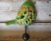 Moss Green Bird Hook Floral and Scroll Design Wall Hook with 70's Colors Cast Iron Hook Ready to Ship Towel Hook Bathroom Hook H-7