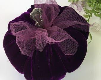 Velvet Pumpkin - Royal Purple - with vintage silver stem - fairytale pumpkin