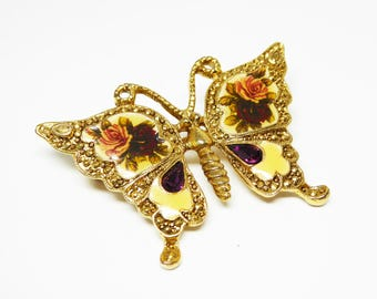 Floral Butterfly Brooch - Gold tone Yellow Enamel - Purple and Pink Rose Flowers,  Purple Marquis Rhinestone, Vintage 1980s 1928 Jewelry Co.