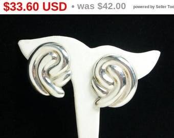 Spring Fling Sale Vintage Sterling Silver Earrings - Large Retro Pierced Earrings - Swirls or Comman Design - Vintage 1980's - 1990's Era