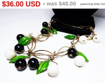 Black & White Beaded Necklace - Berries and Green Enamel Metal Leaves - Dangling Beads - Spring and Summer Jewelry - Vintage 1950's 1960's