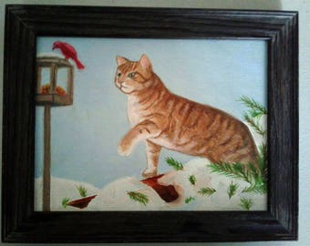 "Whimsical Tabby Cat and Bird Feeder Whimsical Cat Series Oil Paint on Canvas Board 6""X 8"" Gray Frame 7.6"" X 9.6"""