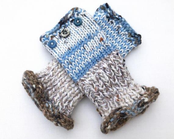 Blue Fingerless Mittens - Frozen Lake Frilly Fingers - Cosy Fingerless Gloves, Blue Wristwarmers - Brown and Blue Fingerless Mittens