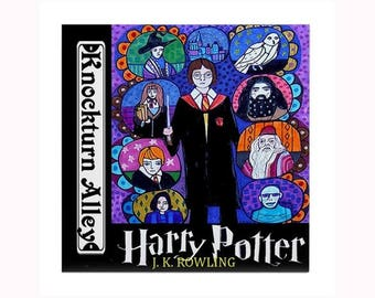 Harry Potter Book Lover ceramic Art Tile by artist Heather Galler fantasy novels written by author J. K. Rowling