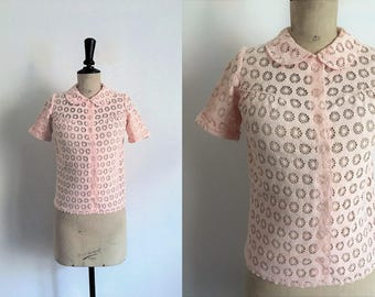 Vintage 40s Light Pink Patterned Openwork Cotton Blouse  / Small Size