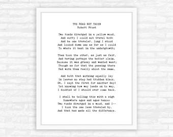 Robert Frost poem print, The Road Not Taken, two roads diverged in a yellow wood, graduation gift for him, for her
