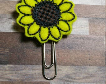 Sunflower Feltie Bookmark / Felt Paper Clip