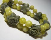 Carved Green Jade Flower Bracelet, Petite Size, Beaded Stretch Bracelet, Round Yellow Agate Beads, Girlfriend Present 1117