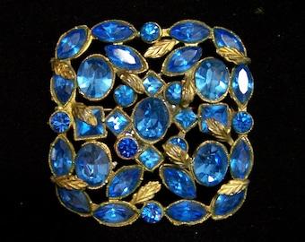 Art Deco Czech Blue Rhinestone Pin, Sapphire Blue Glass Brooch, Square Design, Gold Tone Setting 717
