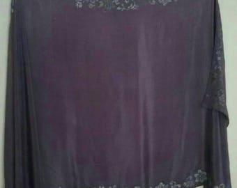 Purple light weight Silk Belly Dance Veil or Yardage with Silver Trim