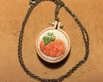 Fall pumpkin hand embroidered mini hoop necklace