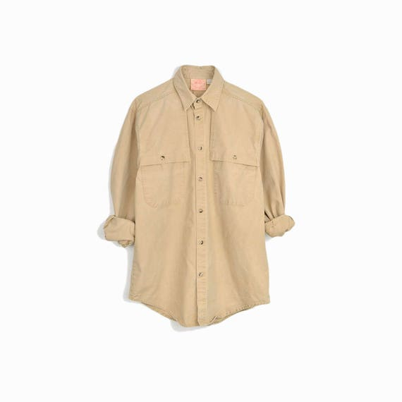 Vintage Aussie Outback Shirt in Tan / Utility Shirt / Cotton Duck Canvas Shirt - men's small