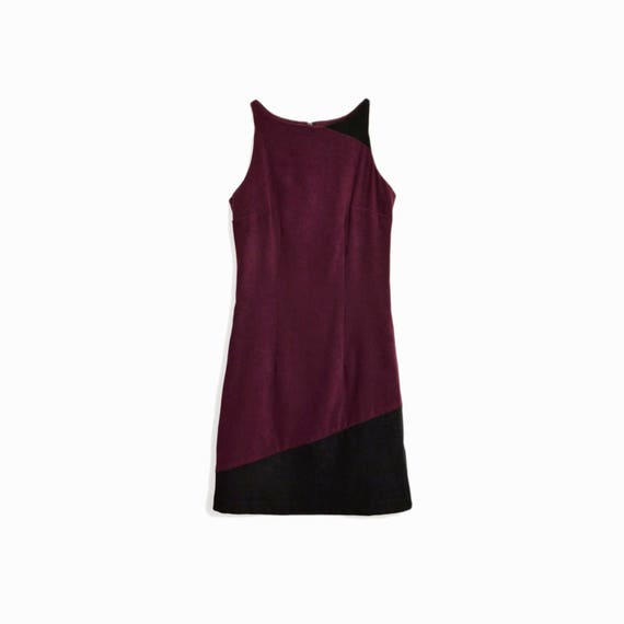 Vintage 90s Color Block Mini Dress In Burgundy & Black  / 90s 5-7-9 Party Dress - women's xs