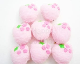ON SALE - Strawberry Keychain or Phone Charm - Food Keychain, Kawaii Keychain, Felt Food, Key Ring, Cell Phone Charm, Party Favors, Stocking