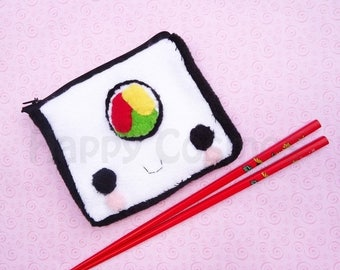 ON SALE - Sushi Roll Zipper Pouch - Pencil Pouch, Pencil Case, School Supplies, Make Up Bag, 3DS Case, Phone Case, Coin Purse