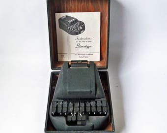 1940 Stenograph Machine with Original Carrying Case & Manual - Nice Industrial Age Design