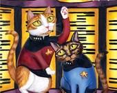 "SALE Star Trek Beam Me Up Cats - 8 x 10"" art print - kitties dressed up as TNG starfleet on the transporter"