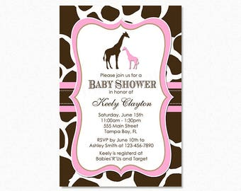 Giraffe Baby Shower Invitation, Girl Giraffe, Pink, Personalized, Printable or Printed