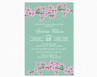 Cherry Blossom Bridal Shower Invitation, Floral Bridal Shower Invitations, Mint Green, Pink, Printable or Printed