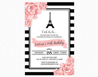 Paris Birthday Party Invitation, Sweet Sixteen Invitation, Eiffel Tower, Black White Stripes, Personalized, Printable or Printed