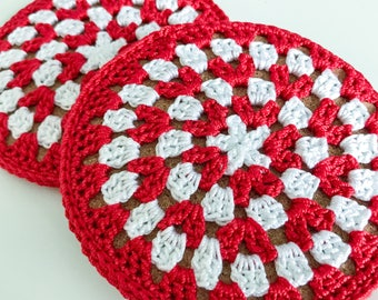 Red and White Cork Coasters | crochet coasters | holiday | Christmas | holiday decor | Christmas decor