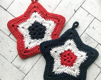 Red, White and Blue Pot Holders | star potholders | crochet pot holders | patriotic | americana | kitchen accessorie