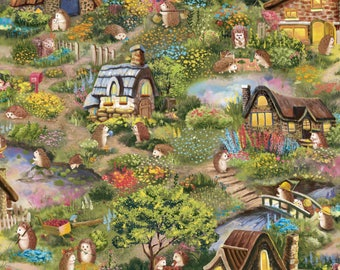 Paintbrush Studio Multi Hedgehog Village Fabric - 1 yard