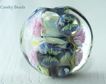 Handmade Lampwork Focal bead - 'Pink Roses & butterflies!' - Creeky Beads SRA