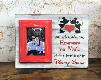 hand painted personalized picture frame 4 x 6 red weathered picture frame disney - Disney Picture Frames
