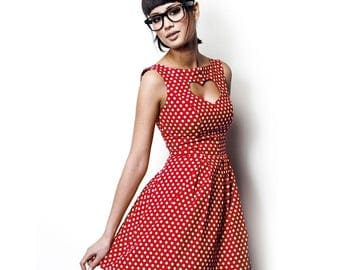 Red heart with white dots dress