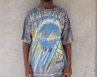 90s SAN DIEGO CHARGERS All Over Print Tee Shirt