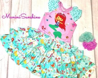 All Jersey Mermaid  Ruffled Dress